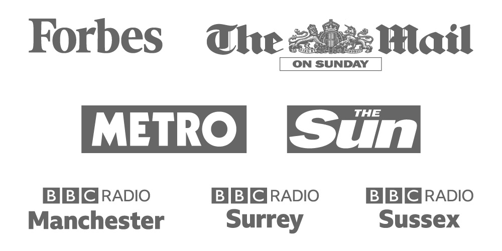 Logos for Forbes, The Mail on Sunday, Metro, The Sun, BBC Radio Surrey, BBC Radio Sussex, BBC Radio Manchester
