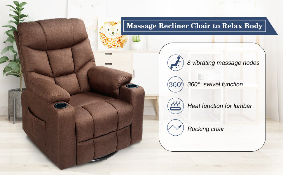 Coffee Fabric Massage Recliner Chair 360 Degrees Swivel Heated Ergonomic Lounge Chair
