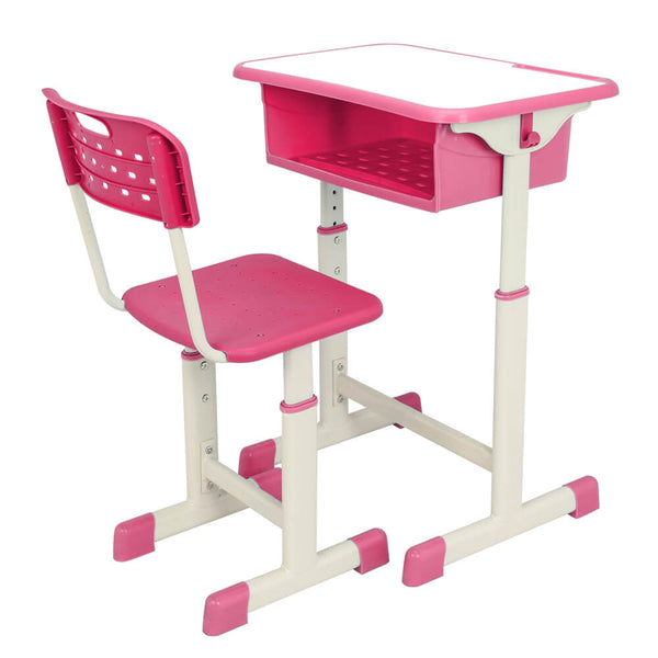Lifting Children Multifunctional Study Desk and Chair Set with Storage Bin Pink