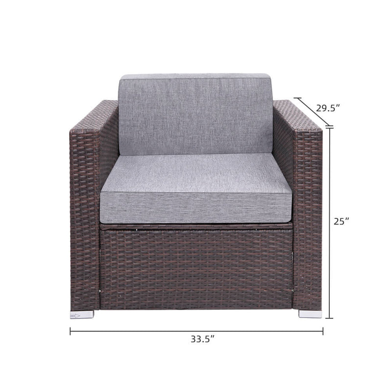 7 Pieces Outdoor Furniture Patio PE Wicker Rattan Sectional Sofa Set