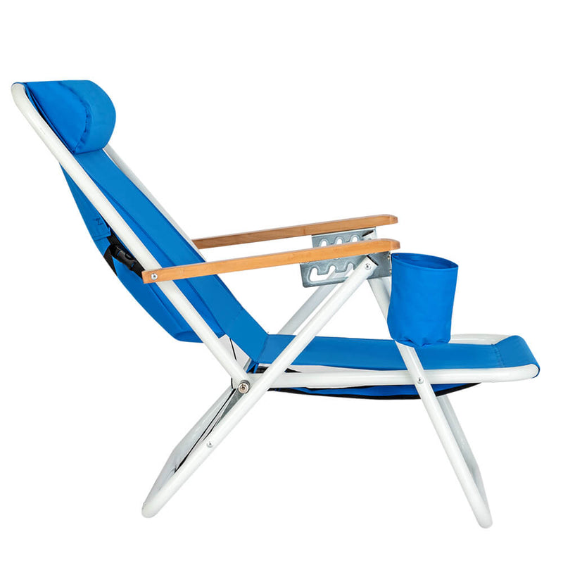 Backpack Folding Beach Chair, Camping Pool Chairs with Armrest & Padded Headrest Cup Holder Blue