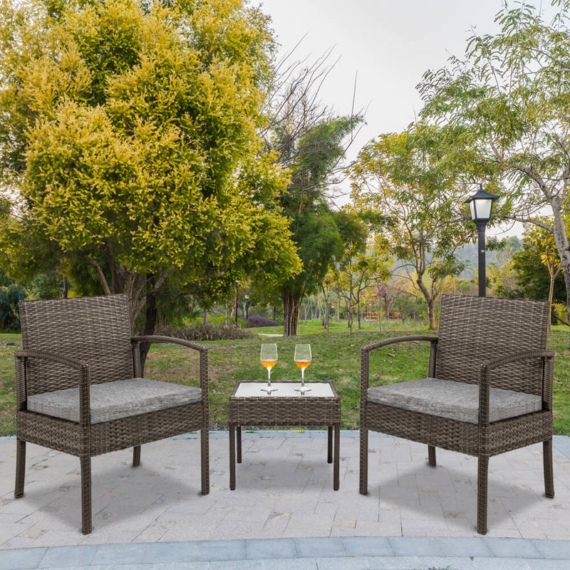 3 Pieces Patio Furniture Set Wicker Rattan Outdoor Patio Conversation Set