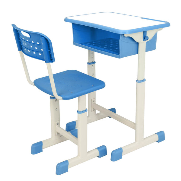 Lifting Children Multifunctional Study Desk and Chair Set with Storage Bin Blue