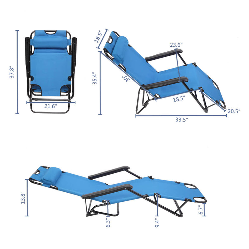 Portable Dual Purposes Extendable Folding Reclining Chair Blue