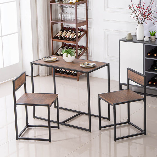 Elm Wood Simple Breakfast Table And Chair Three-Piece