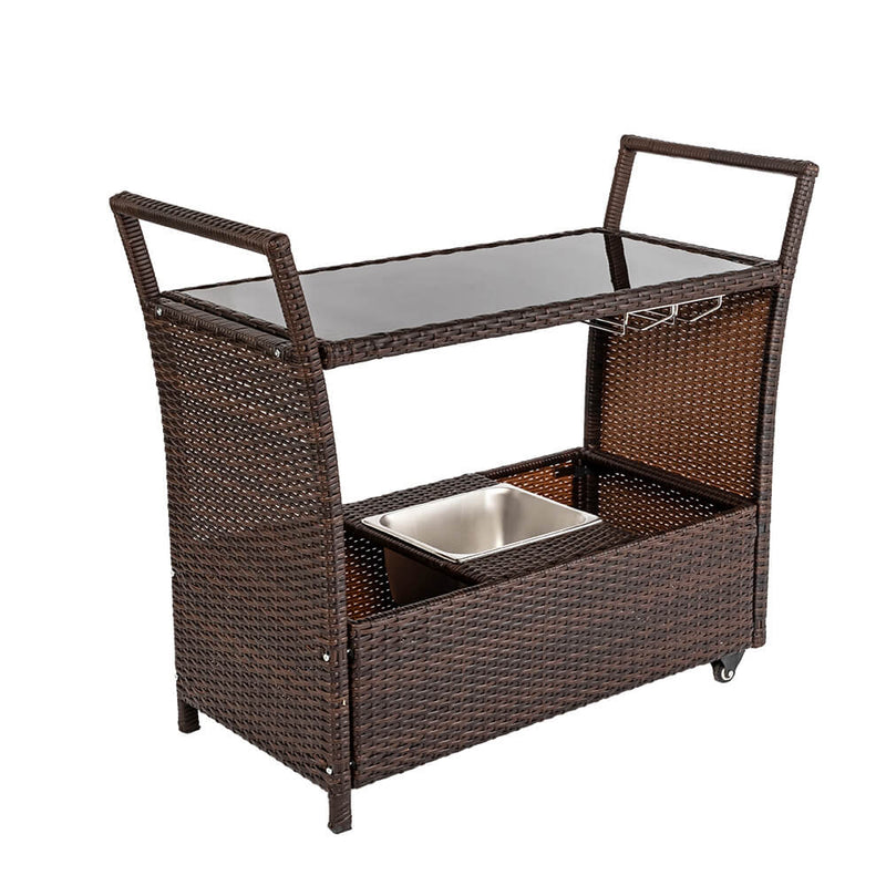 Outdoor Patio Wicker Rattan Serving Bar Cart with Ice Bucket Wine Rack Brown