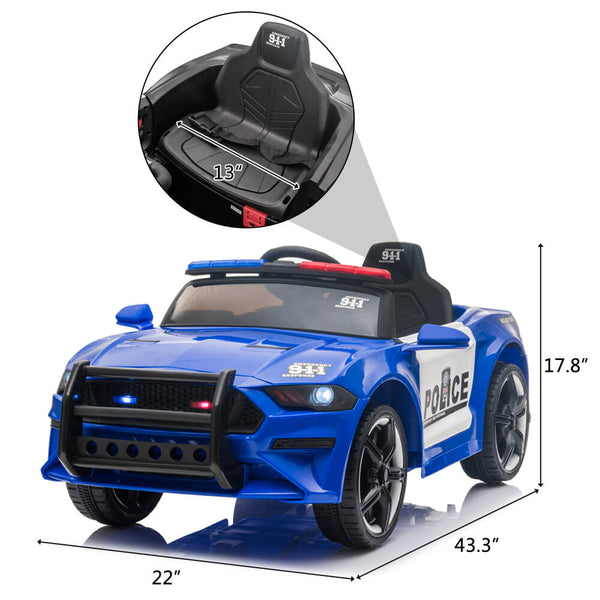 Police Sports Car Ride On Car Dual Drive Remote Control Blue