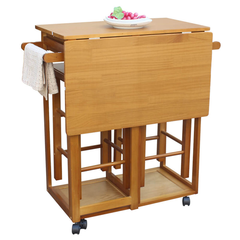 Square Solid Wood Folding Dining Cart with 2 Free Stools Brown
