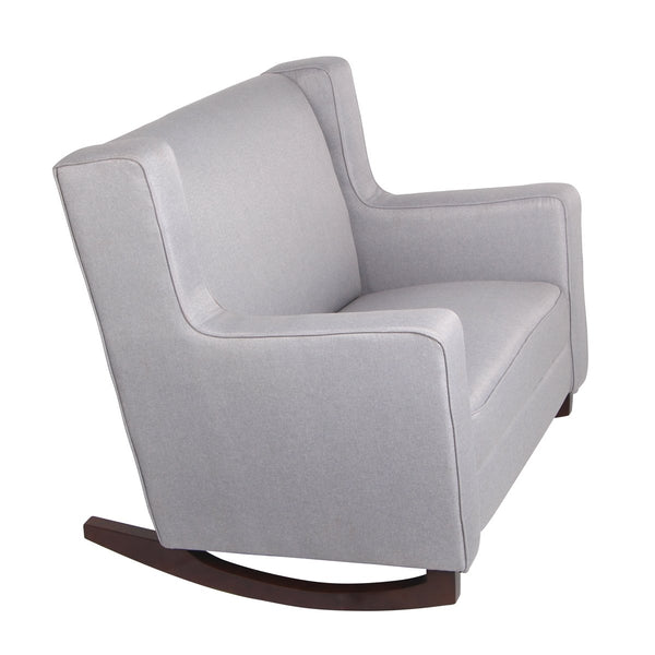 Upholstered Rocking Chair Padded Seat Fabric Rocker for Nursery, Comfortable Relax Glider, Grey
