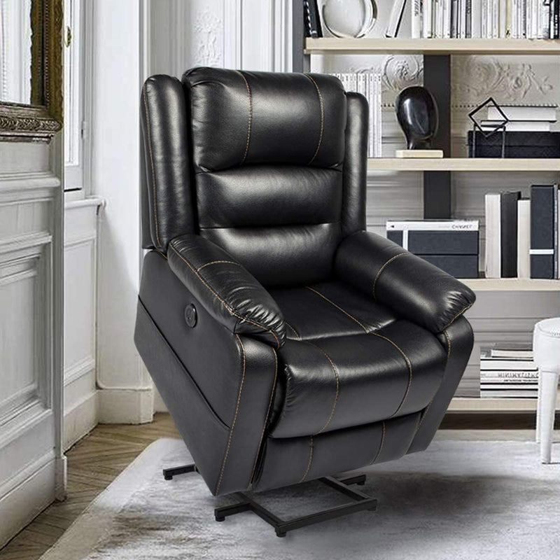 Power Lift Chair Faux Leather Electric Recliner for Elderly, Heated Vibration Massage Sofa with Side Pockets, USB Charge Port & Remote Control, Black