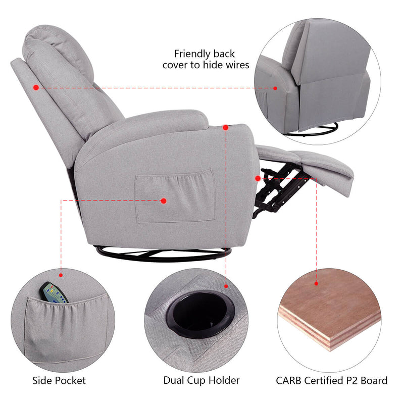 HomHum Grey Fabric Massage Recliner Chair 360 Degree Swivel