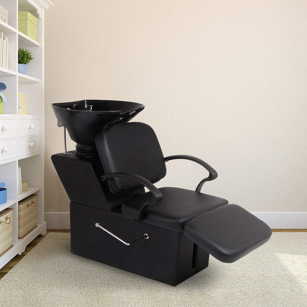 Shampoo Chair Backwash Sink Adjustable Footrest Barber Chair