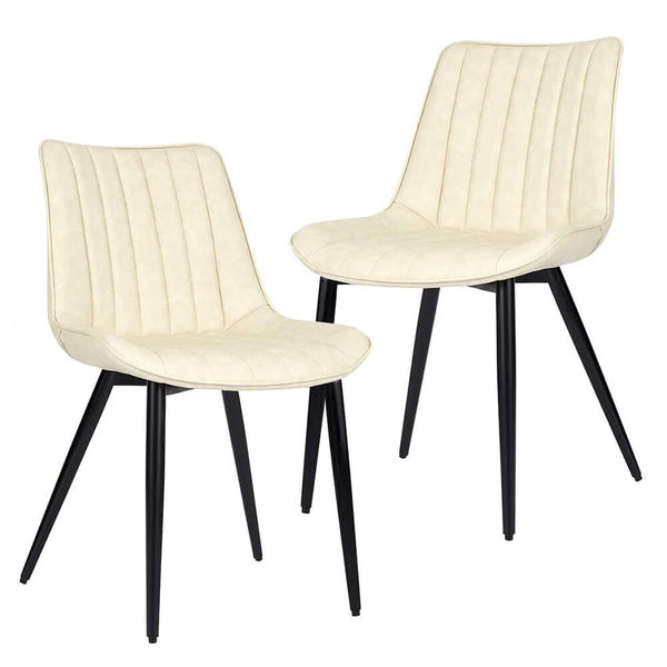 Faux Leather Dining Chairs Set of 2 Modern Leisure Upholstered Chair Beige
