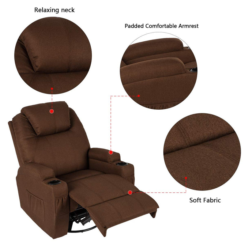 Coffee Fabric Massage Recliner Chair 360 Degrees Swivel Heated Ergonomic Lounge