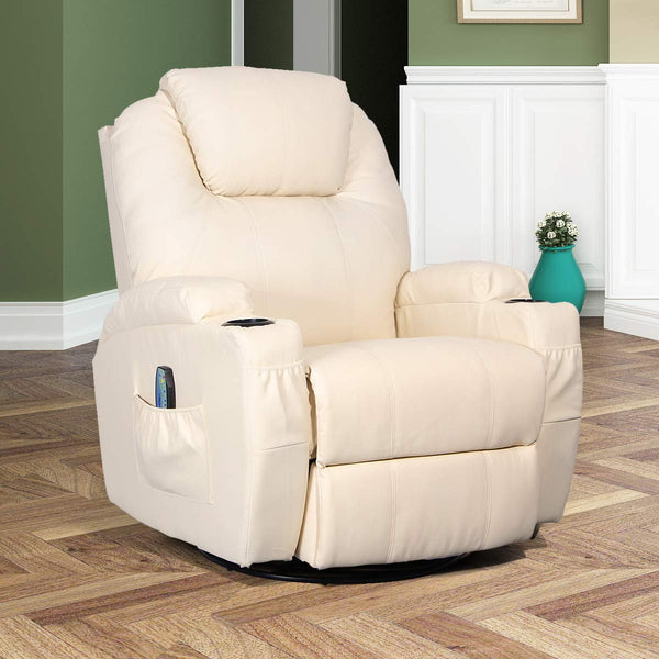 Massage Recliner Chair Heated PU Leather Ergonomic Lounge 360 Degree Swivel (Cream)