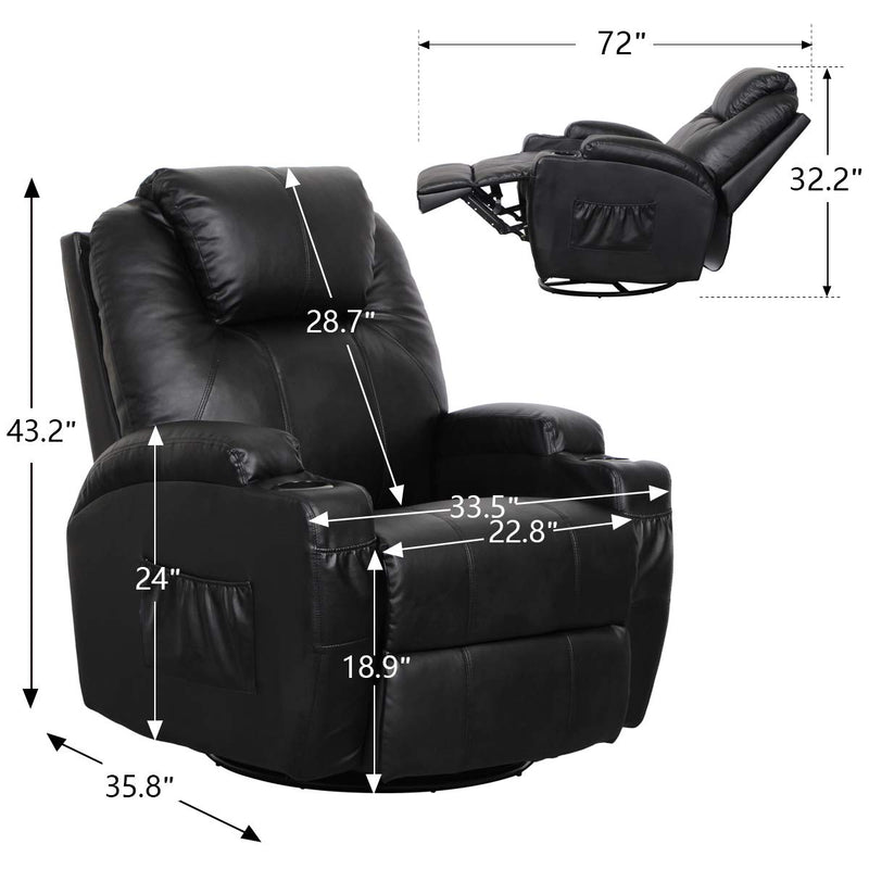 Massage Recliner PU Leather Ergonomic Lounge Heated Chair 360 Degree Swivel Recliner (Black)