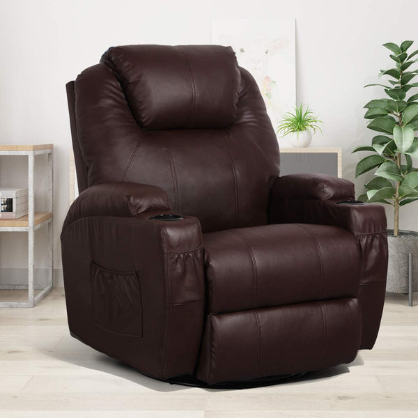Massage Recliner Chair Heated PU Leather Ergonomic Lounge 360 Degree Swivel, Brown
