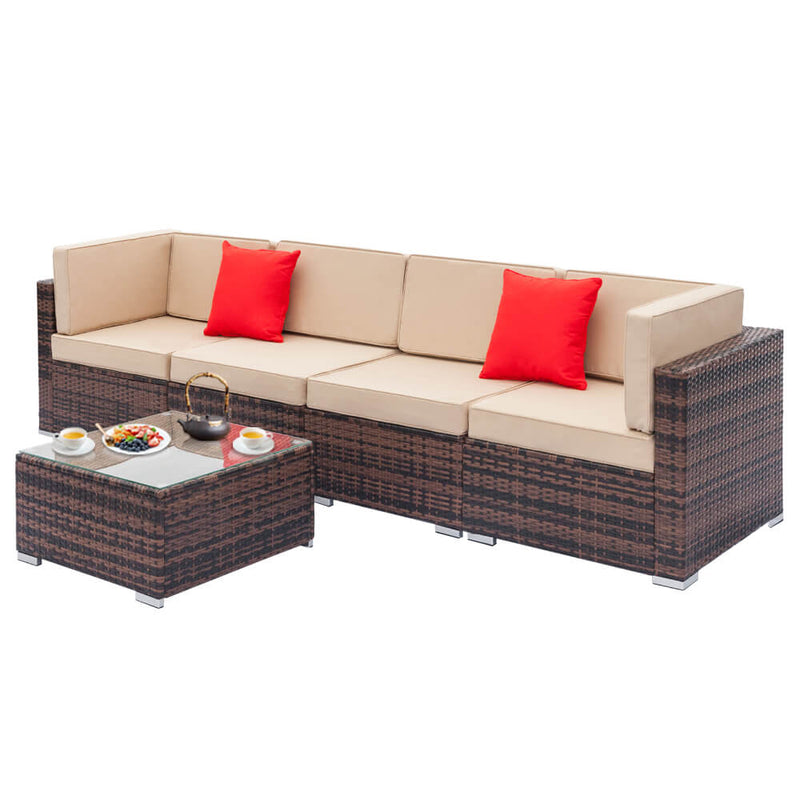 5 Pieces Rattan Sectional Sofa Set, Outdoor Furniture Sets, Brown Gradient