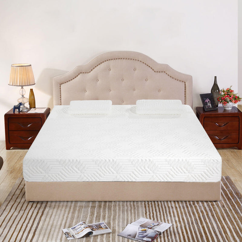 Medium High Softness Cotton Mattress with 2 Pillows (Queen Size) White 12 inches
