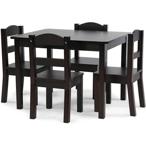 Espresso Kids Wood Table & 4 Chair Set 5-Piece