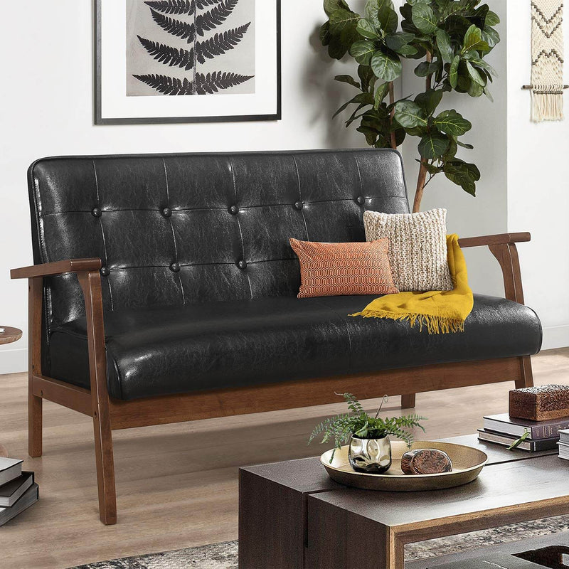 Mid-Century Loveseat Sofa Modern Wood 2-Seater PU Black