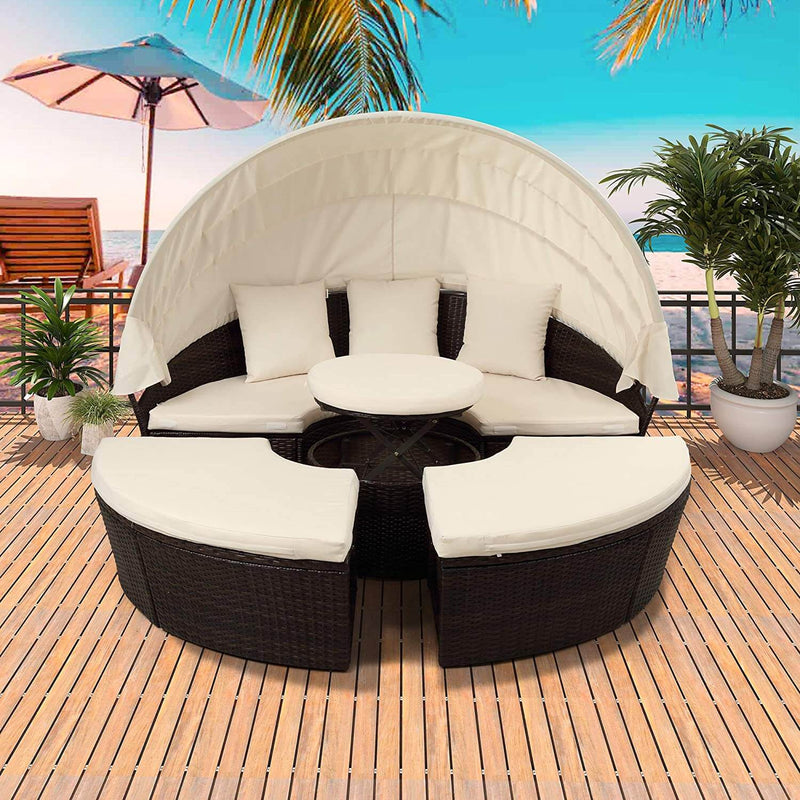 Patio Round Daybed Furniture Set with Retractable Canopy, Coffee Table & Cushions, Outdoor Wicker Rattan Sectional Sofa Set, Beige
