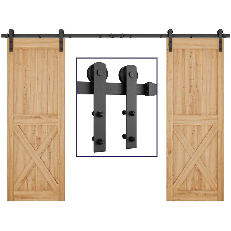 Bi-parting Double Door Sliding Barn Door Hardware Kit Heavy Duty 8-13 FT Carbon Steel