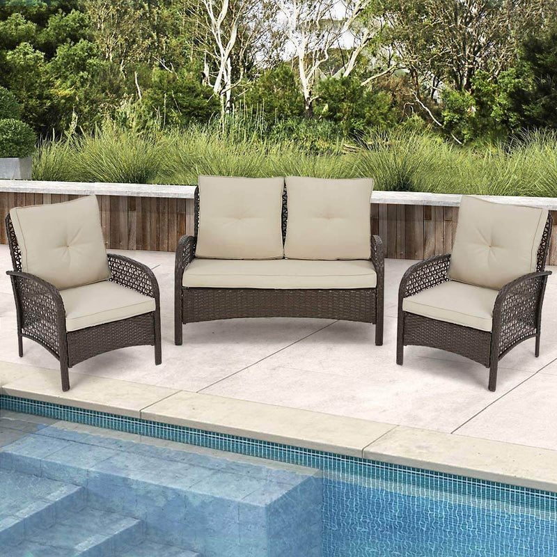 3 Pcs Outdoor Patio Furniture Sets Rattan Sofa Chair Wicker Set, Backyard Porch Balcony Furniture Sets, Brown