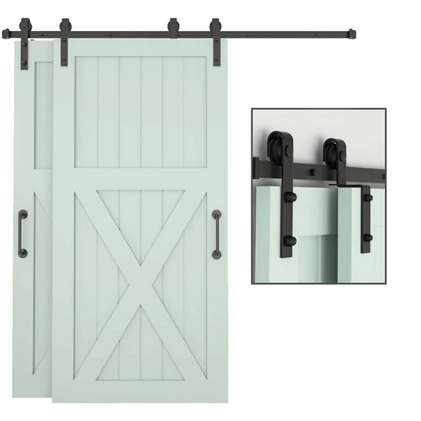 Bypass Sliding Barn Door Hardware Kit Single Track for Double Wooden Doors Use