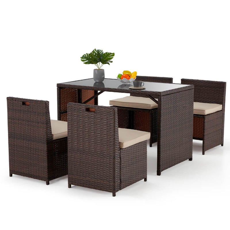 5 Pcs Outdoor Sectional Dining Set Rattan Table & Chairs w/ Seat Cushion, Glass Tabletop