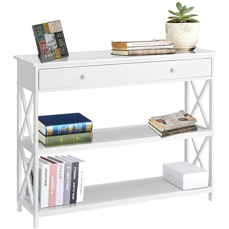 Console Table Sofa Table Entryway Table 3 Tiered Sofa Table Classic X Design with Drawer, Entryway Hall Table, Narrow Easy Assembly White