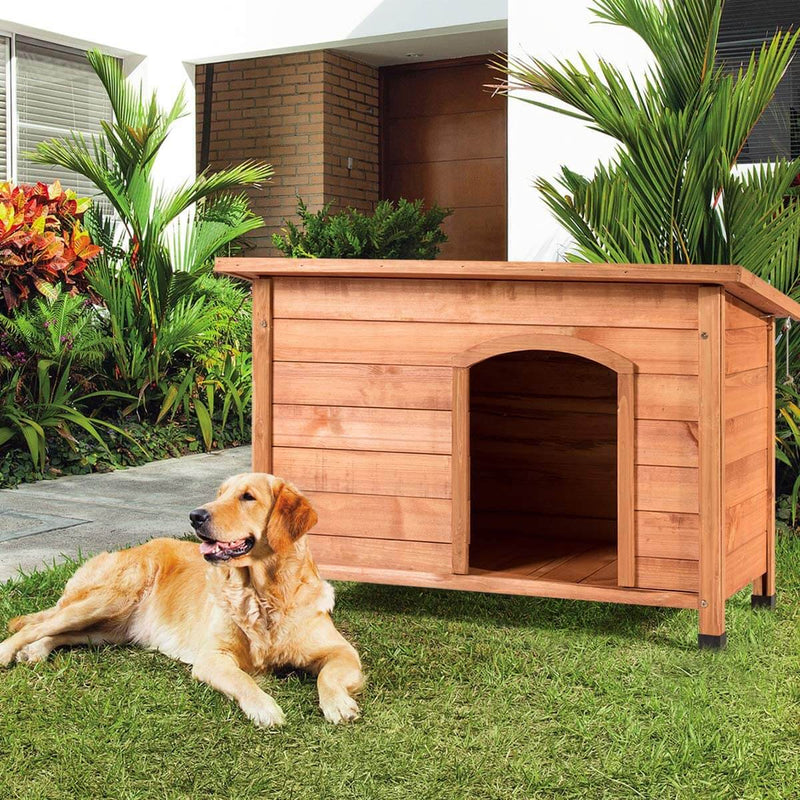 Outdoor Weather-Resistant Dog House Wooden Log Cabin Home Pet Furniture