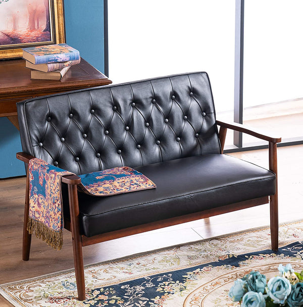Mid Century Retro Modern 2 Seater Loveseat Sofa Sturdy and Durable Double Sofa Solid Wooden