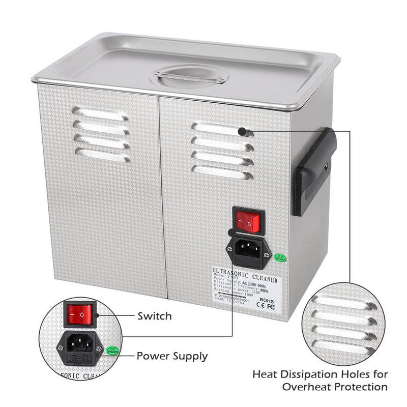 3L Commercial Ultrasonic Cleaner Large Capacity Stainless Steel with Heater and Digital Timer
