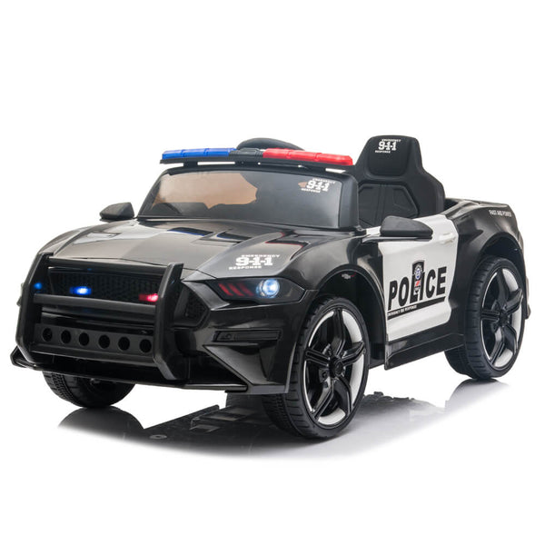 Police Sports Car Ride On Car Dual Drive Remote Control Black