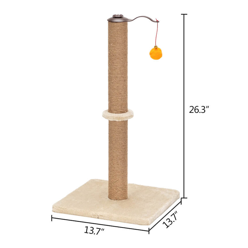 360° Rotatable Cat Climb Holder Tower Climbing Tower Beige with Two Toys 26 inches