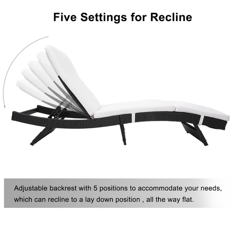 Patio Chaise Lounge Chairs, Beach Recliner Chairs Poolside Chaise, Patio Furniture Wicker Couch Bed with Cushion, Black