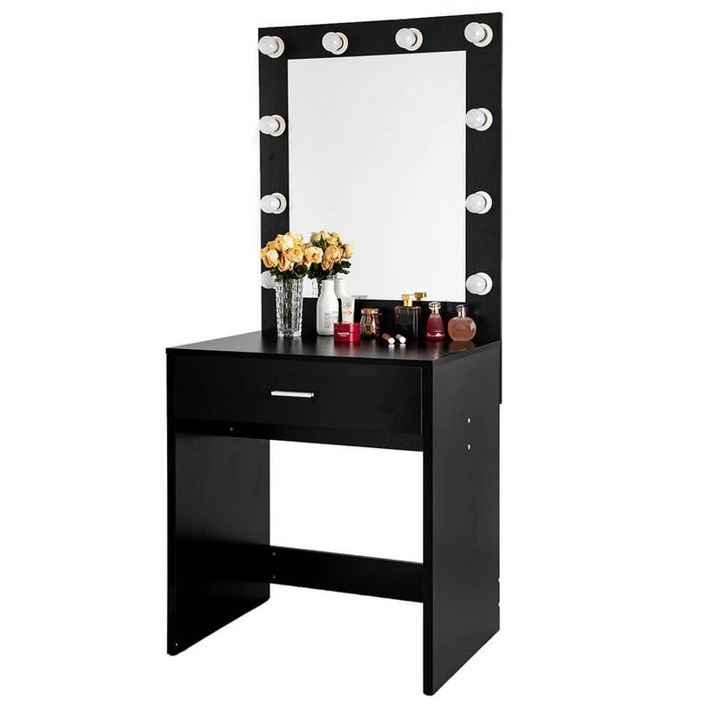Large Mirror Single Drawer Dressing Table Black with Light Cannon, Black