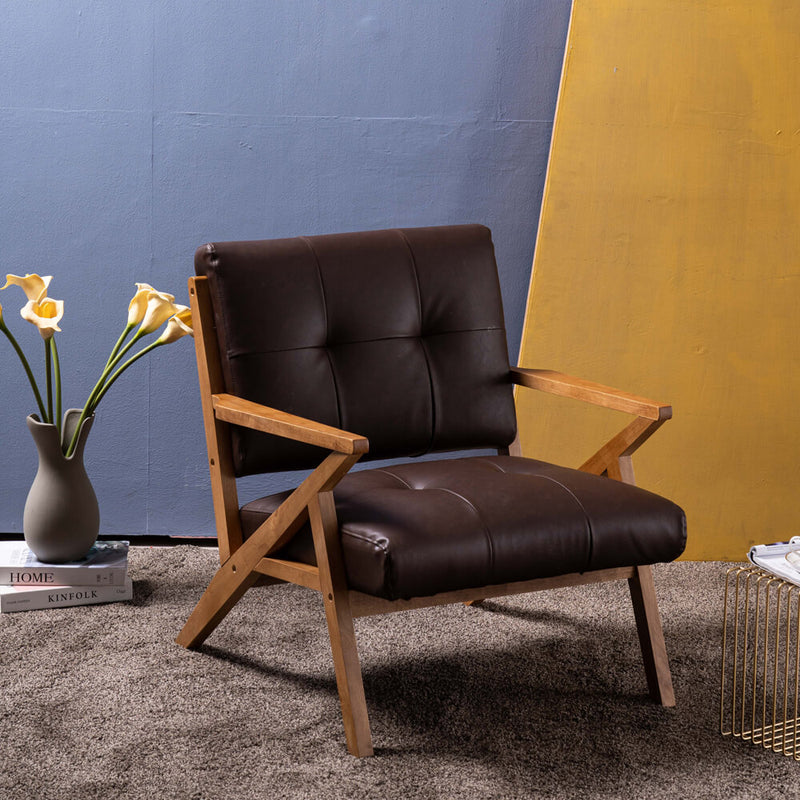 Mid-Century Modern Accent Armchair Solid Hardwood Upholstered Linen Lounge Chair, Suede Brown
