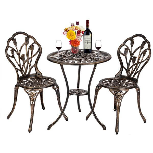 3 Pcs Cast Aluminum Patio Dining Set, Vintage Style Tulip Bistro Set, Outdoor Conversation Furniture Sets