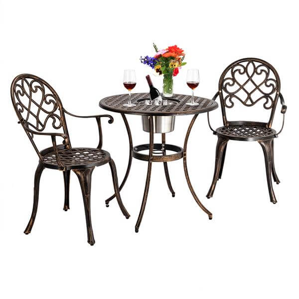 3 Pcs Outdoor Bistro Set, Dining Table Set of Table and Chairs with Ice Bucket, Cast Aluminum Outdoor Patio Furniture, Bronze