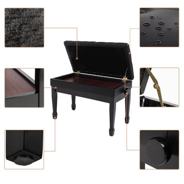 29'' Genuine Leather Adjustable Piano Bench with Storage, Duet Size Artist Concert Piano Bench Stool, Black