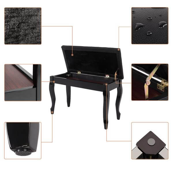 29'' Genuine Leather Piano Bench with Storage, Duet Size Artist Concert Piano Bench Stool, Black