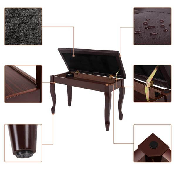 29''Genuine Leather Piano Bench with Storage, Duet Size Artist Concert Piano Bench Stool, Brown