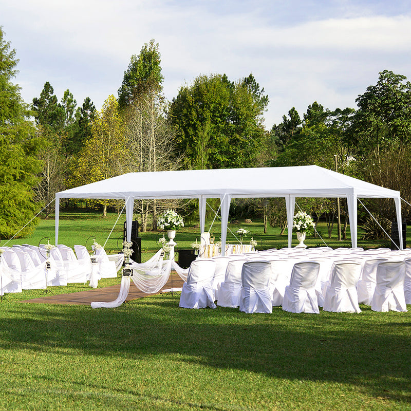 Homhum Foldable Part Canopy Tent 8 Sides with Spiral Tubes 10 x 30 ft, White
