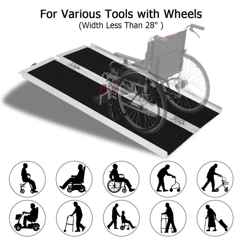 4FT Two-section Non-Skid Folding Lightweight Aluminum Alloy Wheelchair Scooter Mobility Ramps 4FT Two-section