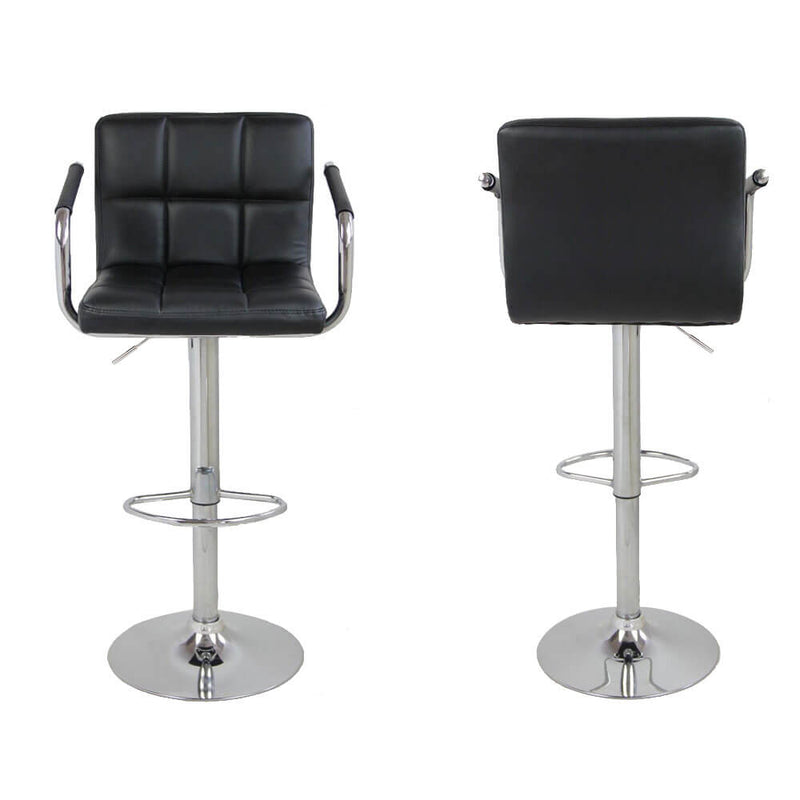 2 pieces 60-80cm 6 Checks Round Cushion Bar Stools with Armrest Black
