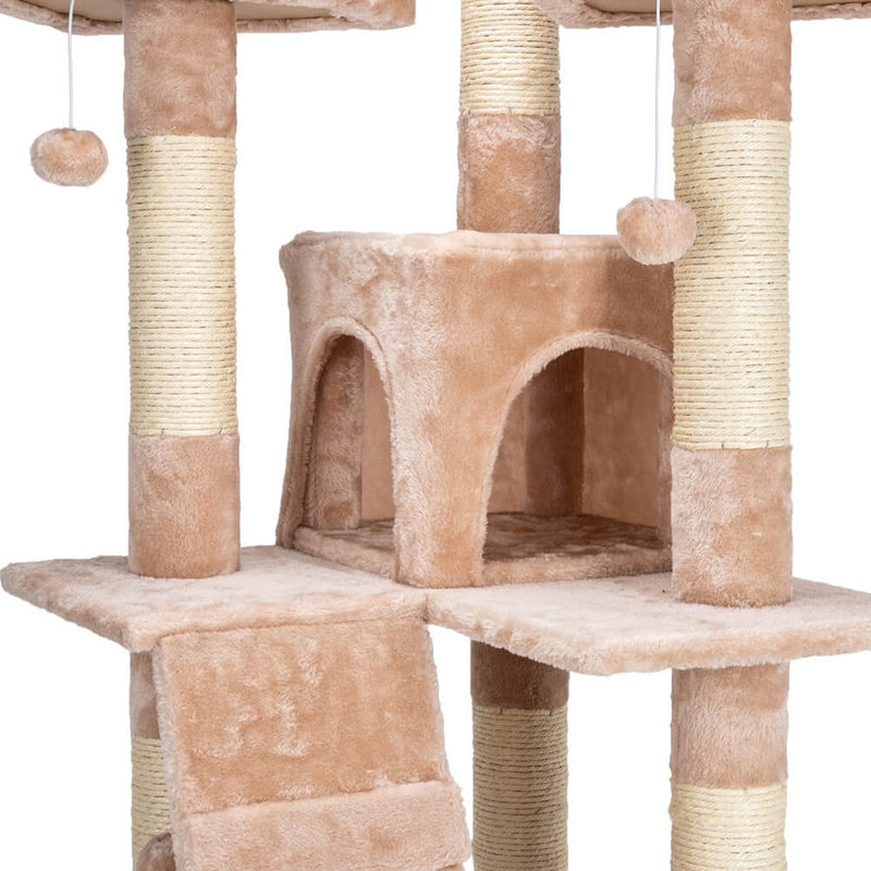 Sisal Hemp Cat Tree Tower Condo Furniture Scratch Post Pet House Play Kitten with Cozy Perches Beige 66 inches