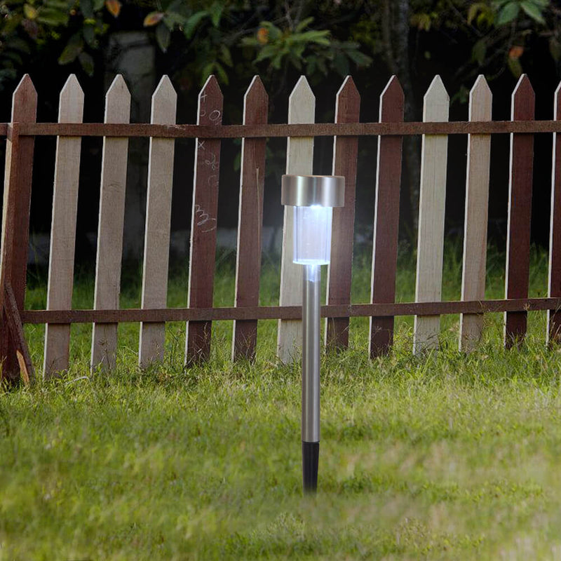10pcs Solar Pathway Lights Outdoor, Solar Powered LED Garden Lights, White & Silver