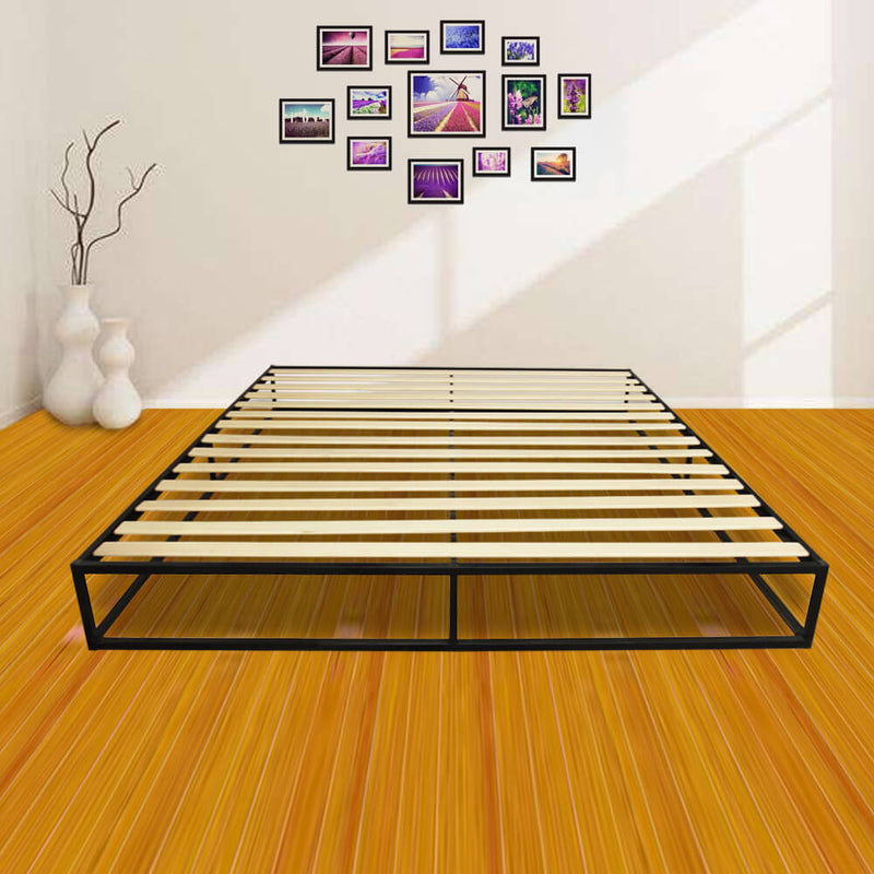 Bed Frame Mattress Platform Foundation Basic Iron Bed in Black, King